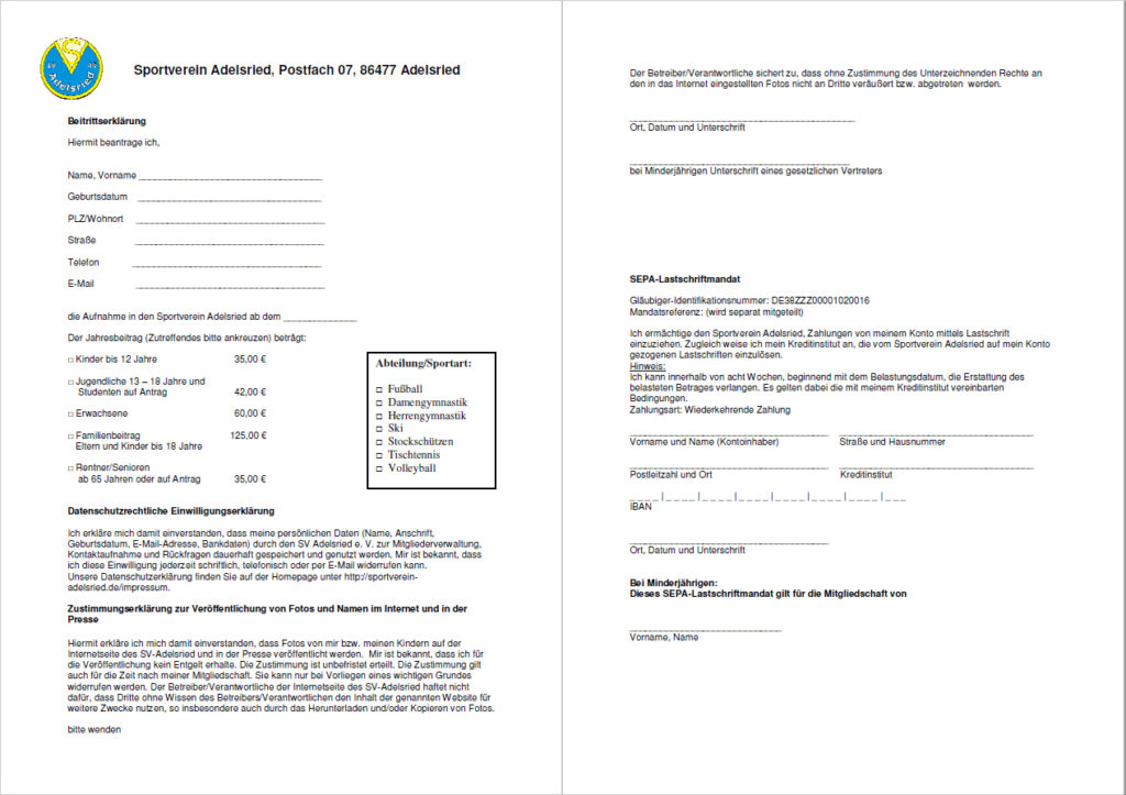 Beitrittserklärung Skiclub Adelsried